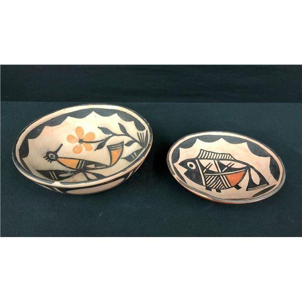 Two Santo Domingo Bowls by Abel and Carol Calabaza