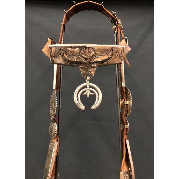 Vintage Navajo Sterling Silver Bridle with Steer Head Design