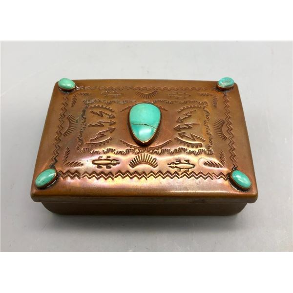 Vintage Navajo Copper Box with Turquoise and Hand Stamped Designs