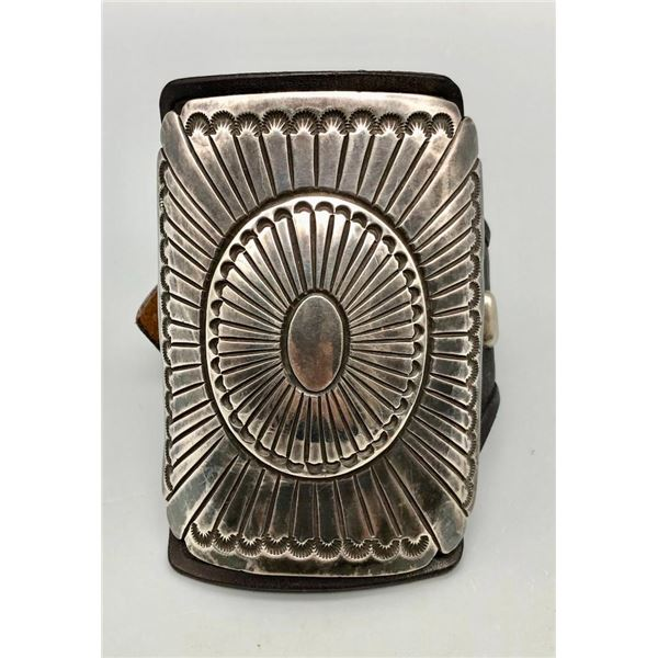 Hefty Vintage Sterling Silver and Leather Ketoh
