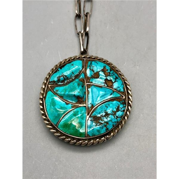 Vintage Sterling Silver and Turquoise Inlay Pendant with Handmade Chain
