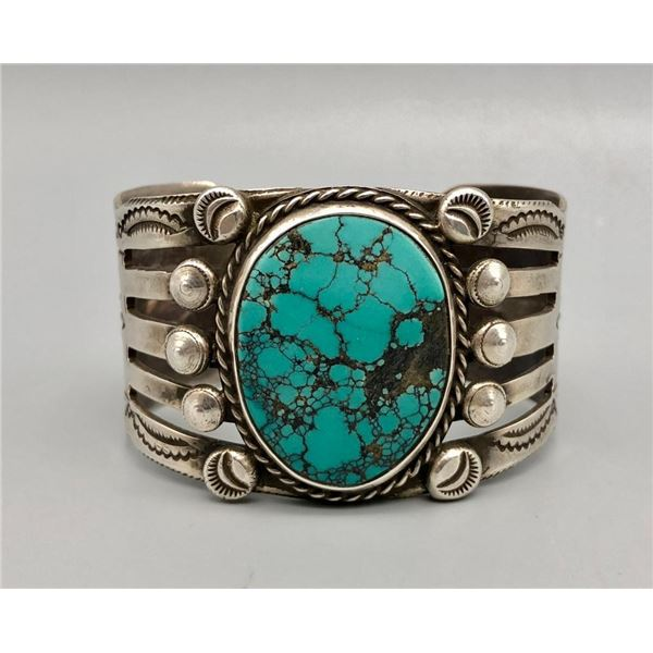"""Tantalizing Turquoise and Sterling Silver """"Statement"""" Bracelet"""