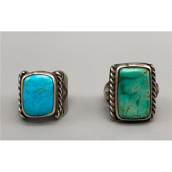 Two Mid Century Turquoise Rings