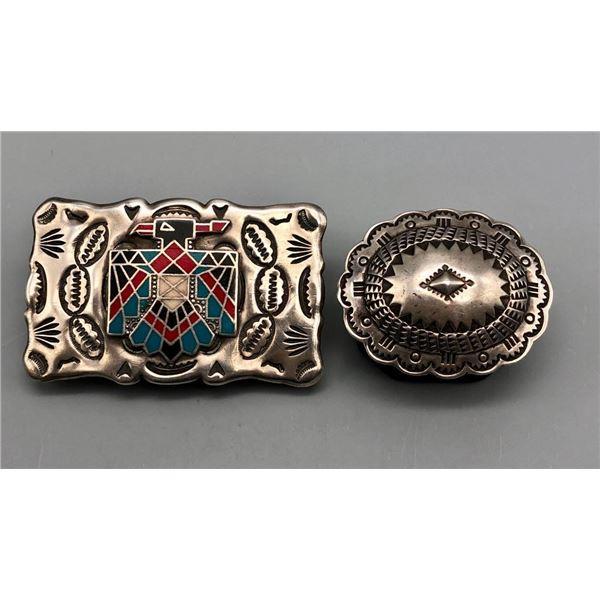 Two Sterling Silver Belt Buckles
