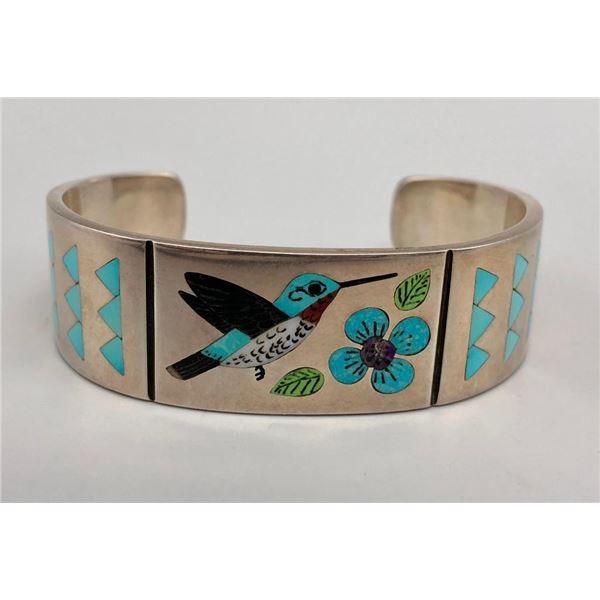 Zuni Hummingbird Inlay Bracelet by Award Winning Artist