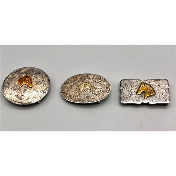 Three Vintage Sterling Silver and Sterling Silver Overlay Buckles