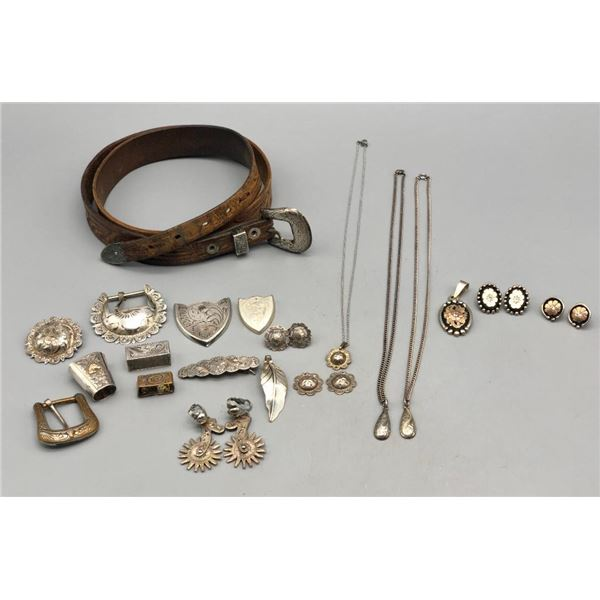 Group of Miscellaneous Sterling Silver and Sterling Silver Overlay Buckles and Jewelry