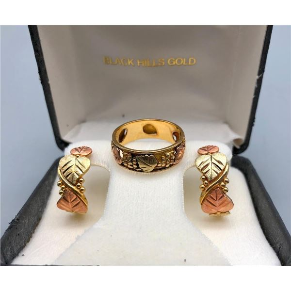 Black Hills Gold Ring and Earrings