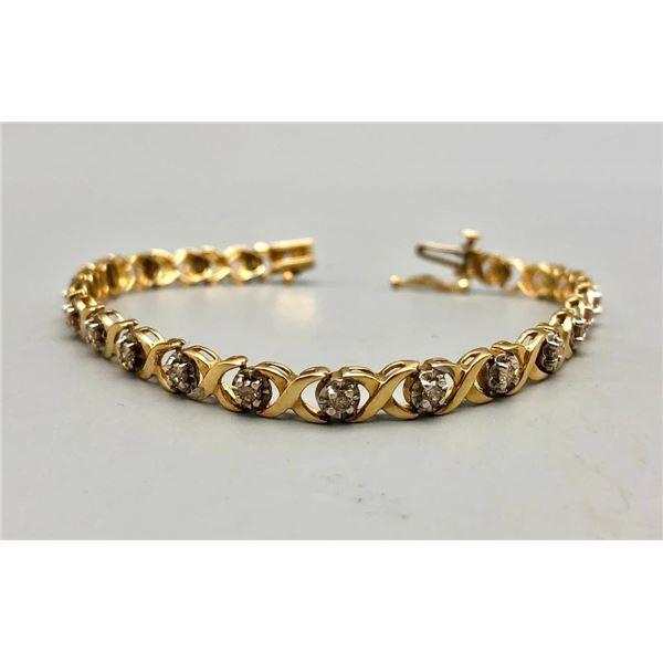 Gold and Diamond Tennis Bracelet