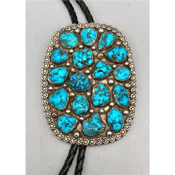 Kingman Turquoise Cluster Bolo Tie