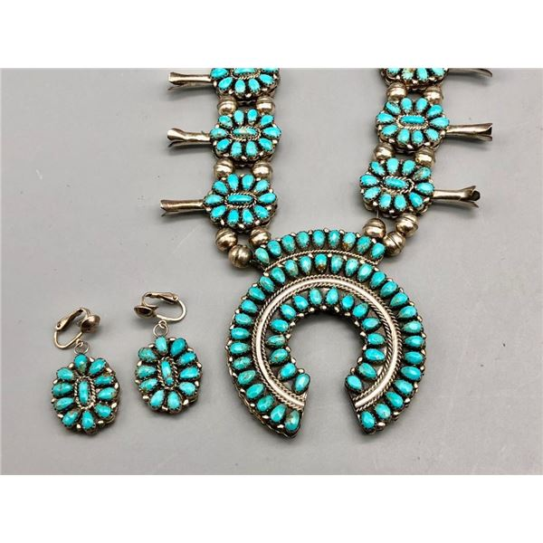 Double Sided Coral and Turquoise Squash Blossom Set