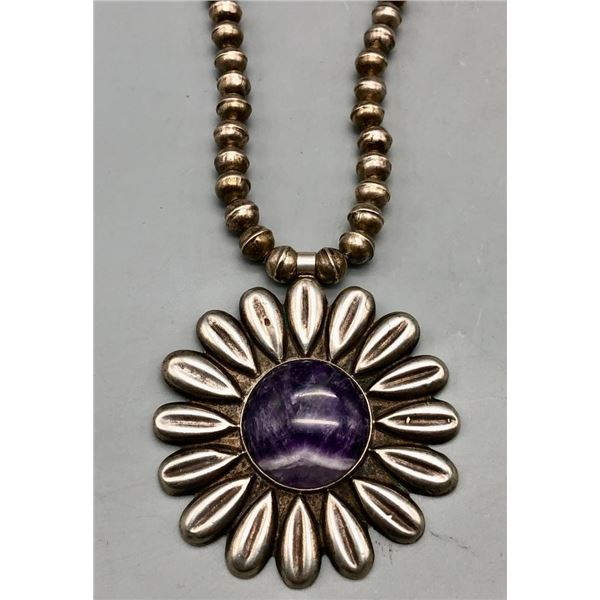Amazing Amethyst and Sterling Silver Handmade Bead Necklace