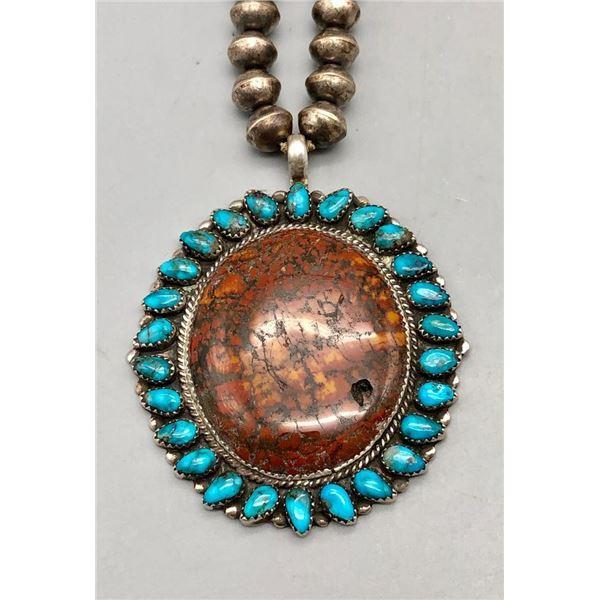 Turquoise and Petrified Wood Pendant on Vintage Handmade Beads