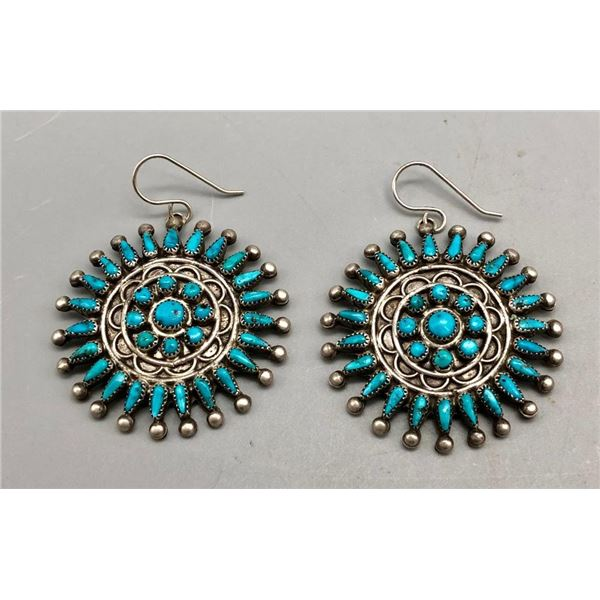 Dazzling Vintage Turquoise Cluster Earrings