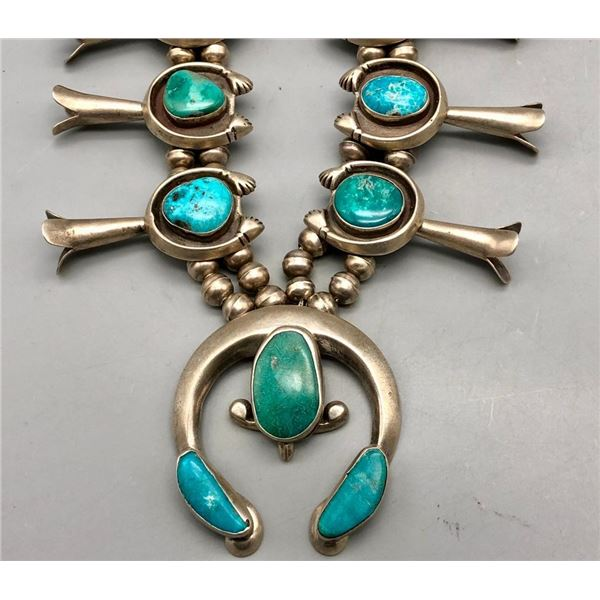 Extraordinary Vintage Turquoise Squash Blossom Necklace
