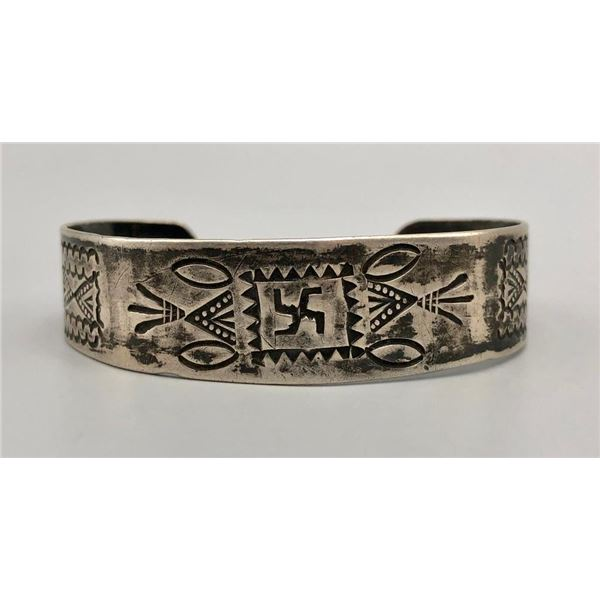 1920s Sterling Silver Bracelet - Chief's and Whirling Logs