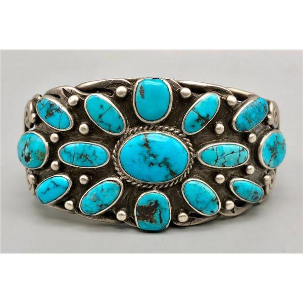 Hefty Vintage Turquoise Cluster Bracelet