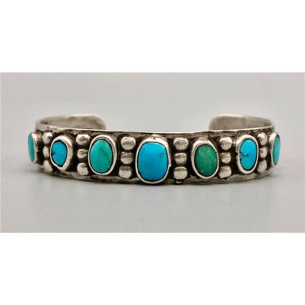 Older Ingot and Turquoise Handmade Bracelet