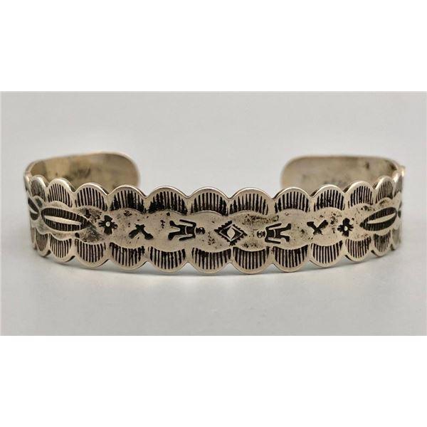 Great Vintage Sterling Silver Hand Stamped Bracelet