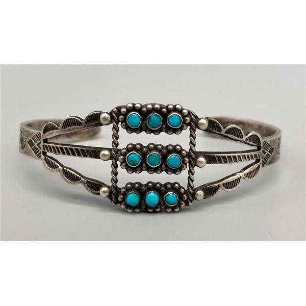 9 Turquoise Snake Eyes Ingot Bracelet