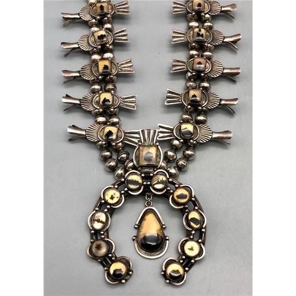 Montana Agate Squash Blossom Necklace