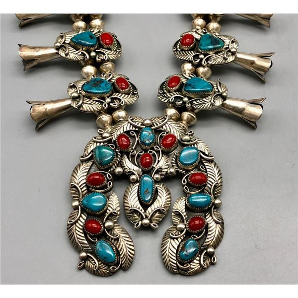 Turquoise and Coral Squash Blossom Necklace - Reeves