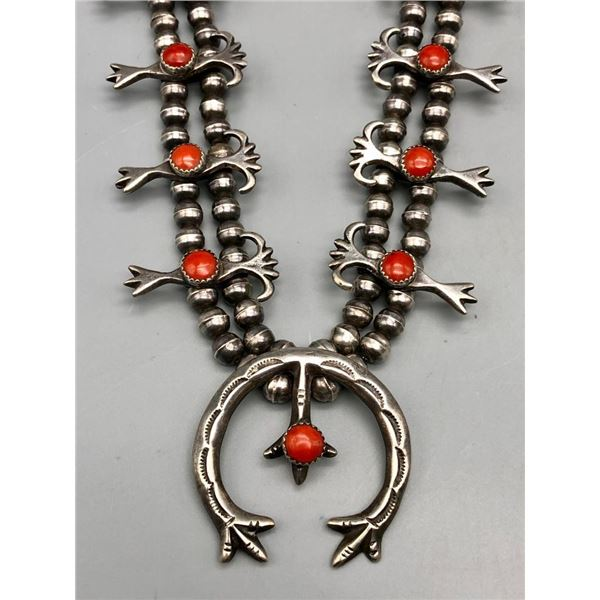 Sterling Silver and Coral Squash Blossom Style Necklace