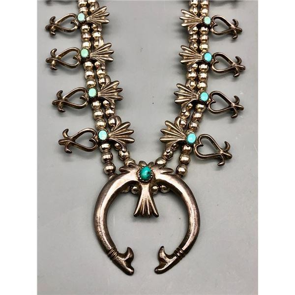 Turquoise and Sterling Silver Squash Blossom Style Necklace