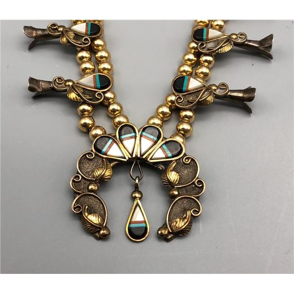 Sterling Silver and 12k Gold Filled and Inlay Squash Blossom Necklace
