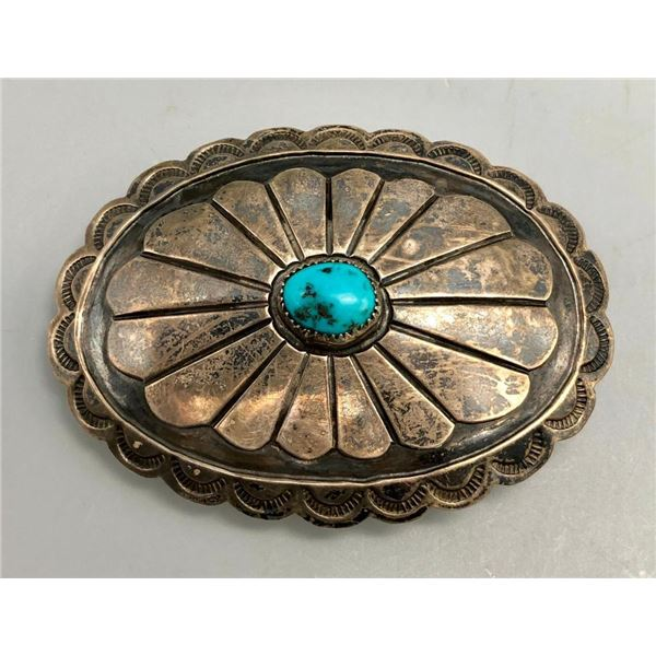 Vintage Turquoise and Sterling Silver Belt Buckle - Three Hogans
