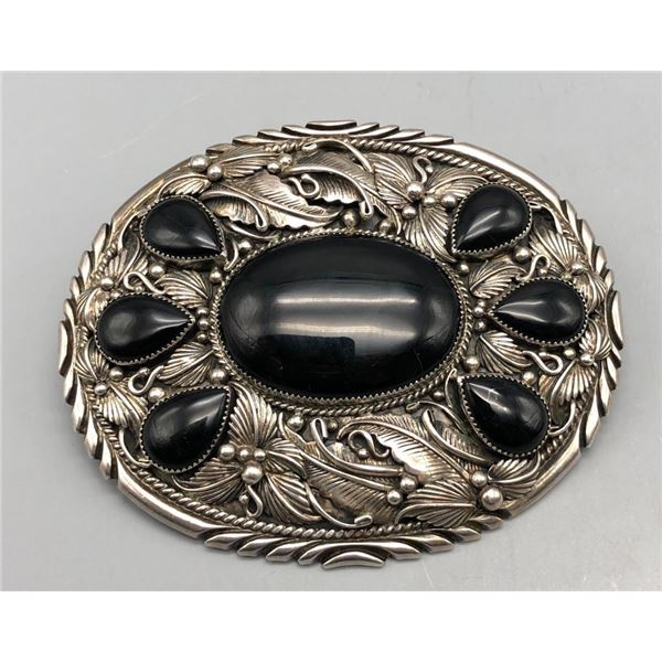 Sterling Silver and Onyx Belt Buckle- Signed