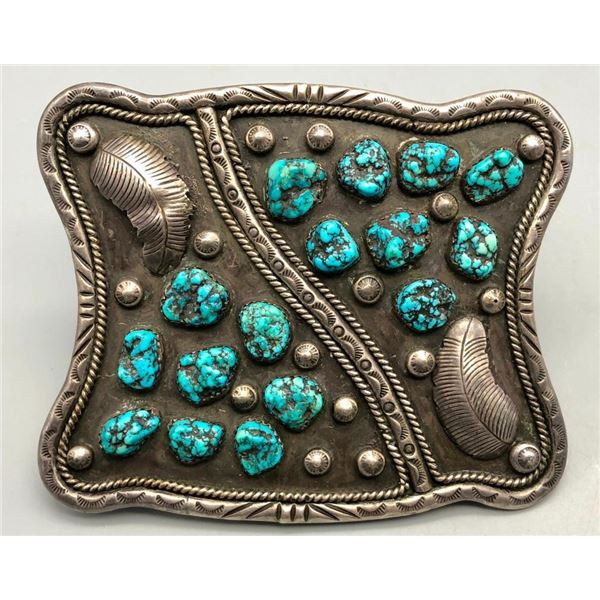 Vintage Turquoise and Sterling Silver Belt Buckle- Signed