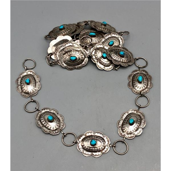 Lovely Link Concho Belt with Turquoise and Sterling Silver