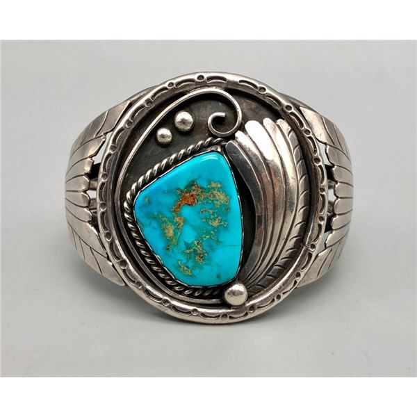 Turquoise and Sterling Silver Bracelet- Carl Luthey Shop