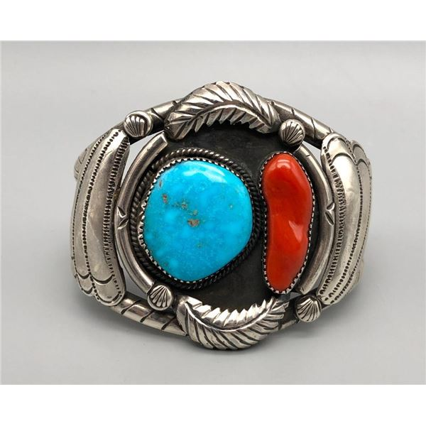 Vintage Turquoise Coral and Sterling Silver Bracelet