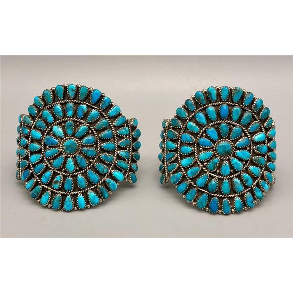 Pair of Matching Turquoise Cluster Bracelets