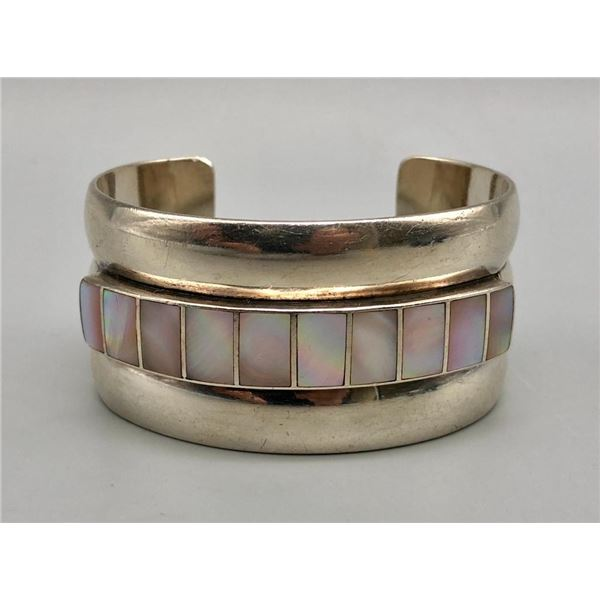 Sterling Silver and Mother Of Pearl Inlay Bracelet
