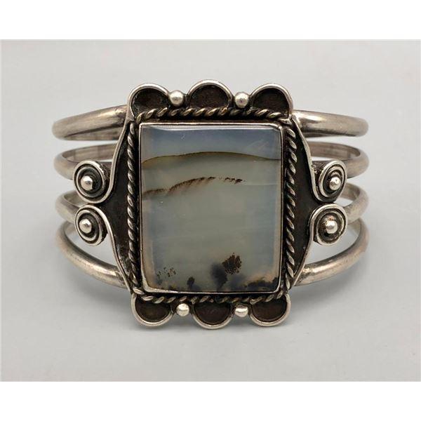 Vintage Sterling Silver and Montana Agate Bracelet