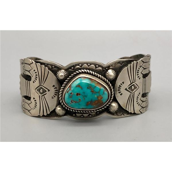 Turquoise and Sterling Silver Retro Style Bracelet by Shawn Endito