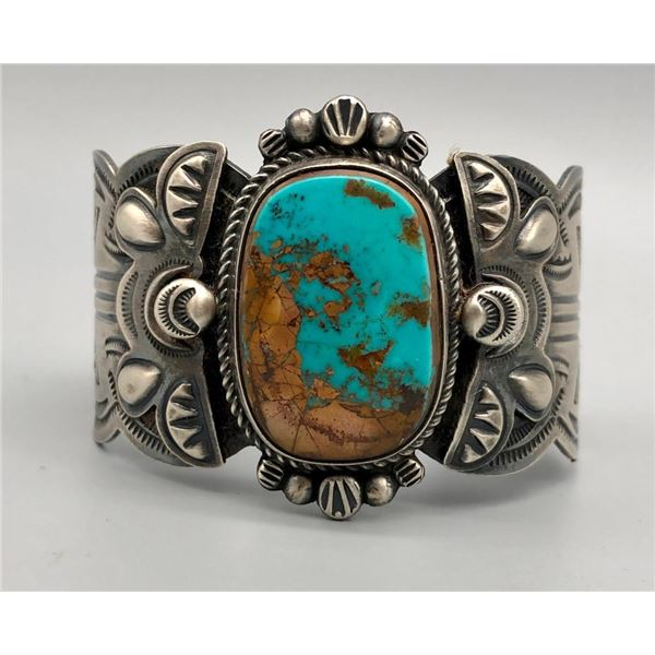 Retro Style Turquoise and Sterling Silver Bracelet by Dean Sandoval Jr