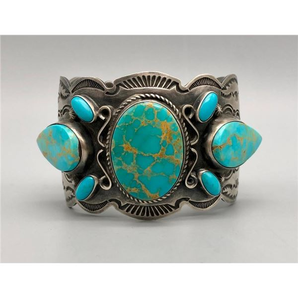 Turquoise and Sterling Silver Bracelet by Dean Sandoval Jr.
