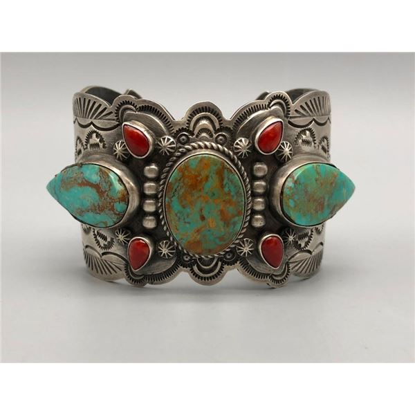 Turquoise Coral and Sterling Silver Bracelet by Dean Sandoval Jr.