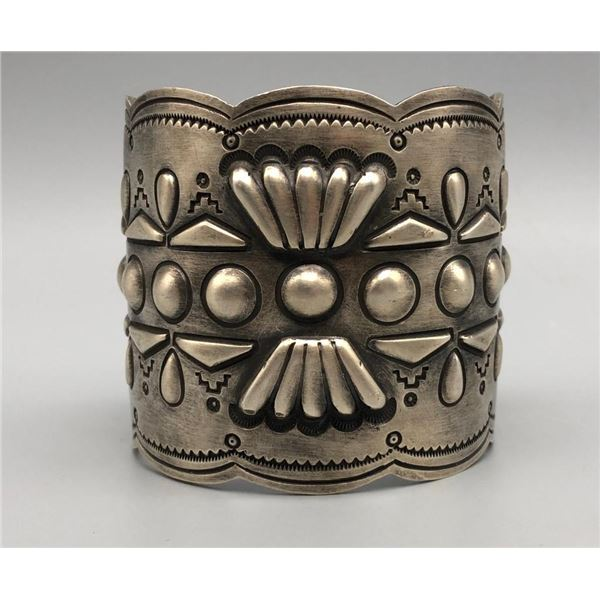 Large Sterling Silver Bracelet with Repousse Work