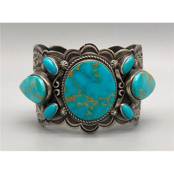Breathtaking Turquoise and Sterling Silver Bracelet by Dean Sandoval Jr.