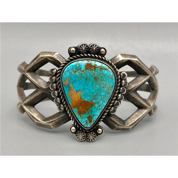 Large Turquoise Sandcast Bracelet