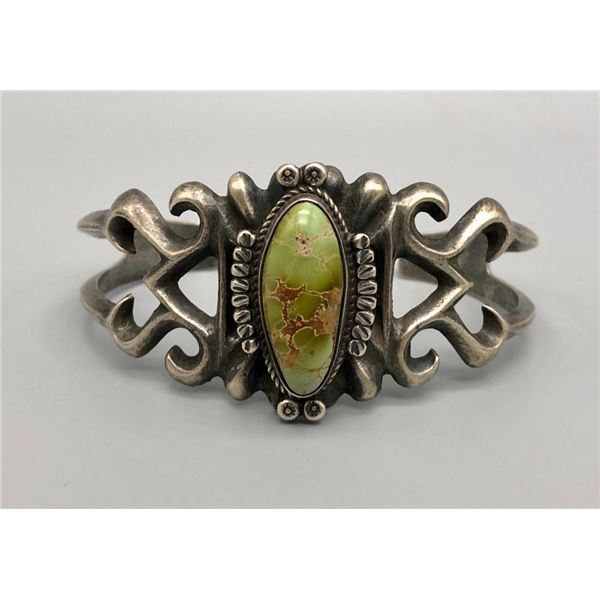 Green Turquoise Sandcast Bracelet by Sandoval and Begay
