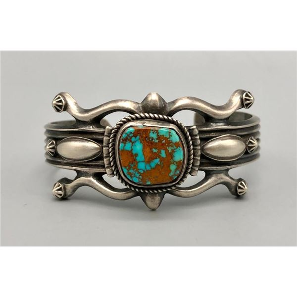 Retro Style Turquoise and Sterling Silver Bracelet