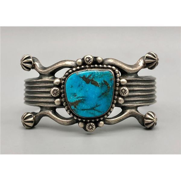 Turquoise and Sterling Silver Bracelet -Retro Style