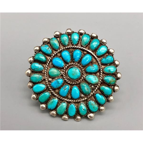 Large Turquoise Cluster Ring
