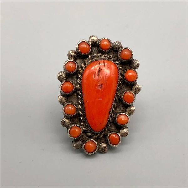 Beautiful Coral Cluster Ring